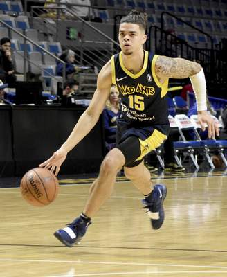 Rachel Von   The Journal Gazette  Mad Ants' Rob Gray runs the ball down the court during the second quarter against Raptors 905 at the Coliseum on Thursday.