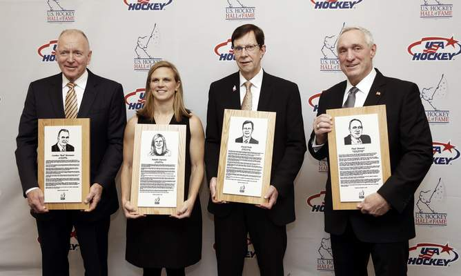 Associated Press The U.S. Hockey Hall of Fame class included, from left, former Michigan coach Red Berenson, three-time Olympic medalist Natalie Darwitz, Predators GM David Poile and ex-referee Paul Stewart.