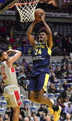 Mike Moore | The Journal Gazette Mad Ants forward Alize Johnson goes up under the basket in the first quarter against Rio Grande Valley at Memorial Coliseum on Monday.