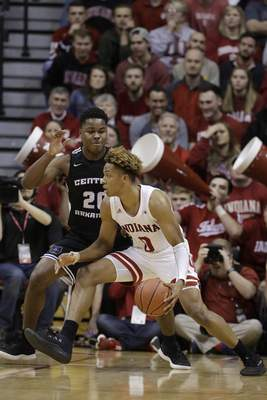 Indiana's Romeo Langford (0) goes to the basket against Central Arkansas's Matthew Mondesir (20) during the first half of an NCAA college basketball game, Wednesday, Dec. 19, 2018, in Bloomington, Ind. (AP Photo/Darron Cummings)
