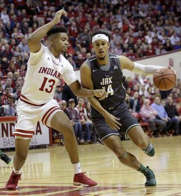 Juwan Morgan guards during Indiana's 94-64 win over Jacksonville. Morgan had the second triple-double in Indiana history with 10 points, 10 rebounds and 10 assists. (AP Photo/AJ Mast)