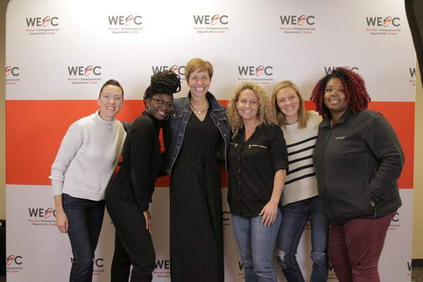 Photo courtesy of the Northeast Indiana Innovation Center  WEOC Launch Women Business Builders, shown left to right, Molly Roman, JMC Coaching; Semaj Walker, CARBON Brand; Leslee Hill, WEOC Director; Kelley Marvin, inspired Nutrition by Kelley; Amber Harper, Burned-In Teacher; and Jillian Lee, J-It-Down