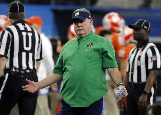 Notre Dame and coach Brian Kelly fell short against Clemson, falling 30-3 in the Cotton Bowl. The Irish are still a step below the best teams in the country. (AP Photo/Michael Ainsworth)
