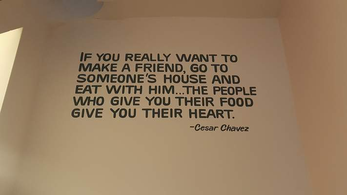 A quote on the wall at Bird and Cleaver Public House on Wells Street.