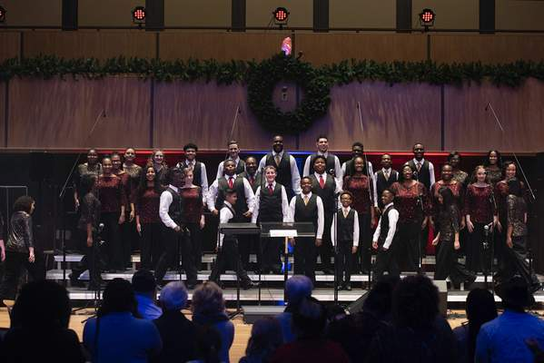 Photos by Brett Luke | The Journal Gazette The Voices of Unity Youth Choir takes the stage Sunday afternoon for Praise Celebration 2019 at the Rhinehart Music Center at Purdue University Fort Wayne.