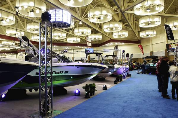 Katie Fyfe   The Journal Gazette  The Allen County War Memorial Coliseum hosts the 38th Annual Boat Show & Sale in Fort Wayne on Sunday. The show includes boats, water skis, water toys, lifts, piers, docks, boat covers and patio furniture.