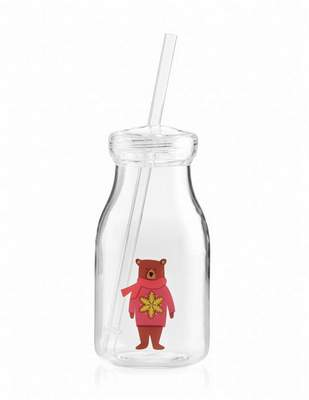 Crate and Barrel Holiday Bear acrylic milk bottle.