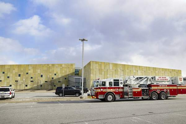 Fort Wayne police and fire crews respond to an accidental shooting at the Public Safety Academy Tuesday afternoon. (Mike Moore | The Journal Gazette)