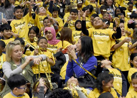 Photos by Rachel Von | The Journal Gazette Students and teachers from Southwick Elementary School cheer as confetti falls during a ceremony Tuesday announcing that it and New Haven Middle School finished in the Top 10 in a nationwide kindness challenge.