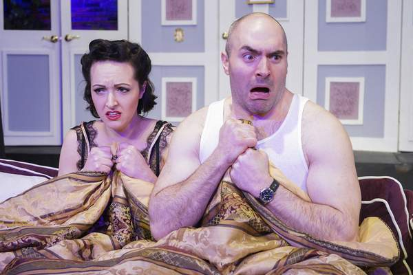 """Lindsay Hoops, left, and Kimberly provide some of the farce in """"A Comedy of Tenors,"""" which has fun with mistaken identities and love affairs."""