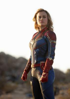 Marvel Studios  This image released by Disney-Marvel Studios shows Brie Larson in a scene from