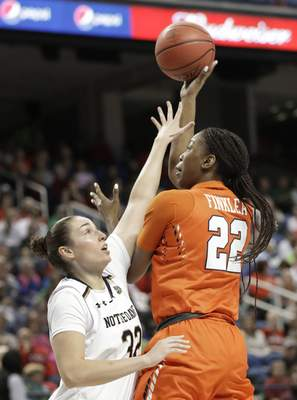 Syracuse's Amaya Finklea-Guity (22) shoots against Notre Dame's Jessica Shepard (32) during the first half of an NCAA college basketball game in the Atlantic Coast Conference women's tournament in Greensboro, N.C., Saturday, March 9, 2019. (AP Photo/Chuck Burton)