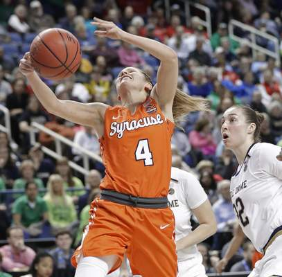 Syracuse's Tiana Mangakahia (4) loses the ball after being fouled by Notre Dame's Jessica Shepard (32) during the first half of an NCAA college basketball game in the Atlantic Coast Conference women's tournament in Greensboro, N.C., Saturday, March 9, 2019. (AP Photo/Chuck Burton)