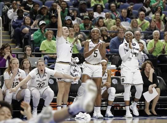 Notre Dame players Abby Prohaska (12), Jessica Shepard (32), Marina Mabrey (3), Jackie Young (5), and Arike Ogunbowale (24) react to a teammate's basket against Syracuse late during the second half of an NCAA college basketball game in the Atlantic Coast Conference women's tournament in Greensboro, N.C., Saturday, March 9, 2019. (AP Photo/Chuck Burton)
