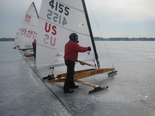 Courtesy Rick Lemberg, 68, of Syracusefinished17th out of the 27 boats in the silver fleet at theDN North American National Championship on Lake Wawasee in February.