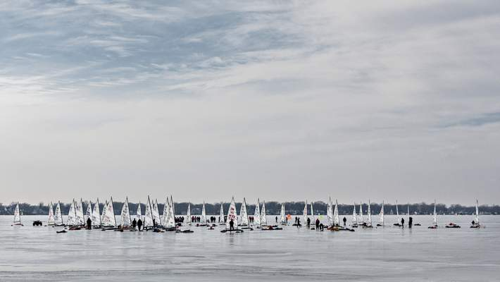 Danny Graber Photography  This year's DN North American National Championships, which was supposed to happen on Indian Lake in Ohio, wasmoved 140 miles to Lake Wawasee. The championship, held on Feb. 21-23, welcomed about 100 iceboats from overeight countries.