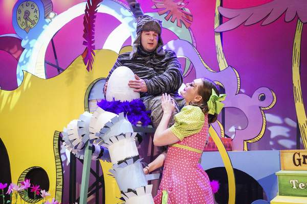 Mike Moore   The Journal Gazette Actors Jordan Gameon, left, Horton the Elephant and Kennedy Lomont, Gertrude McFuzz rehearse on stage at the Robert Goldstine Performing Arts Center for the opening of Seussical taken on Monday 03.18.19