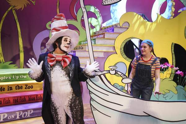 Mike Moore   The Journal Gazette Actors Louis Soria, left, The Cat in the Hat and Cassandra Smith, JoJo rehearse on stage at the Robert Goldstine Performing Arts Center for the opening of Seussical taken on Monday 03.18.19