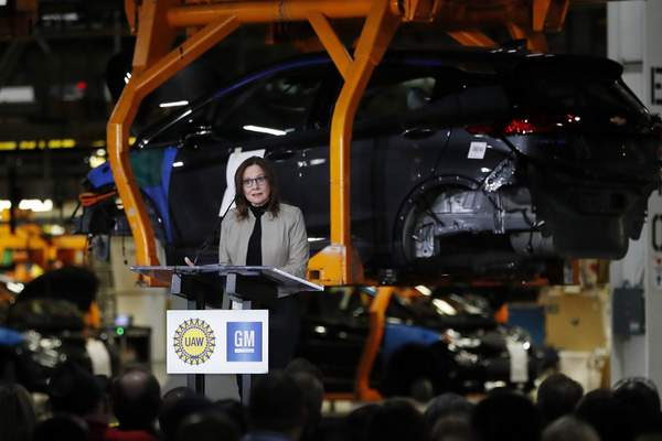 Associated Press photos General Motors Chairman and CEO Mary Barra announces Friday the company's investment of $300 million in its plant in Orion Township, Mich.,  creating 400 jobs.