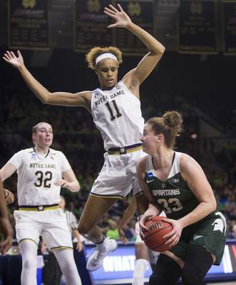 Notre Dame's Brianna Turner (33) had a double-double in the Irish's win over Michigan State in the second round of the NCAA Tournament on Monday. Notre Dame moved on to the Sweet 16 in Chicago. (AP Photo/Robert Franklin)