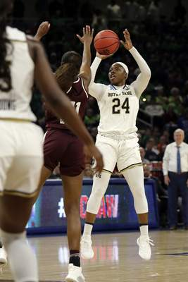 Notre Dame's Arike Ogunbowale (24) shoots against Texas A&M's Kayla Wells (11) during the second half of a regional semifinal game in the NCAA women's college basketball tournament, Saturday, March 30, 2019, in Chicago. (AP Photo/Nam Y. Huh)