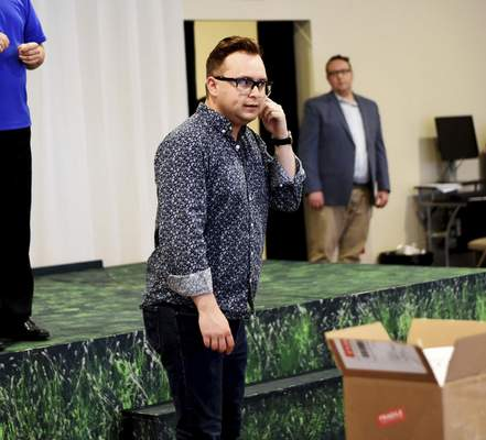 """Photos by Katie Fyfe   The Journal Gazette  Gavin Drew, who is deaf in his right ear and has just 5 percent hearing in his left, will play Snoopy in this weekend's production of """"You're a Good Man, Charlie Brown."""""""