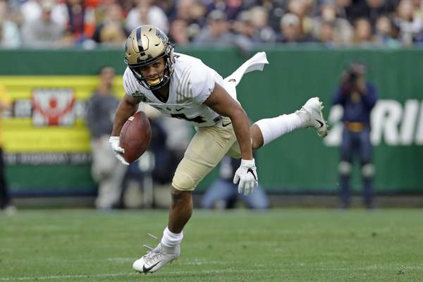 Associated Press Freshman receiver Rondale Moore, who led Purdue to the Music City Bowl, was honored at Saturday's spring game as last season's MVP.