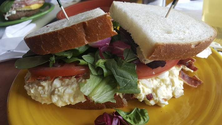 The BLT egg salad sandwich at Firefly Coffee House on North Anthony Boulevard.