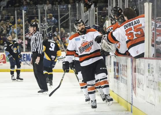 Jeremy Wadsworth | The Blade  Komets forward Mason Baptista celebrates scoring a goal against the Toledo Walleye during the first period of Game 5 of the Central Division semifinals at the Huntington Center in Toledo, Ohio.