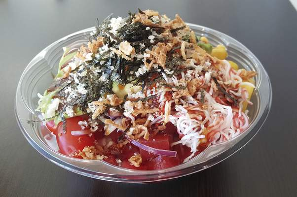 A plain tuna bowl with white rice at AA Poke on Coliseum Boulevard.