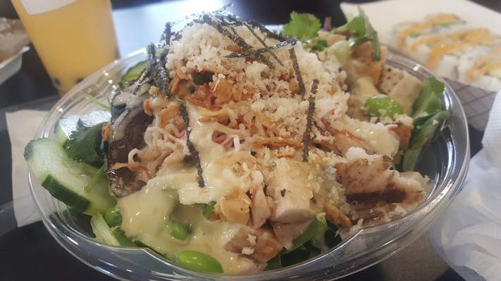 A salad with chicken at AA Poke on Coliseum Boulevard.