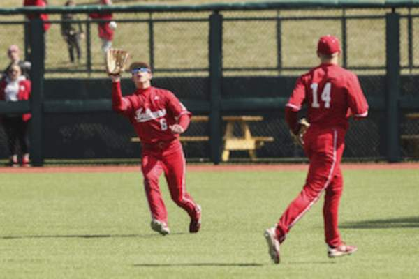 Courtesy Indiana Athletics Freshman Grant Richardson, who spent three years at Bishop Dwenger, has worked to become a top defensive outfielder for Indiana. He is also hitting .327 in 26 games.