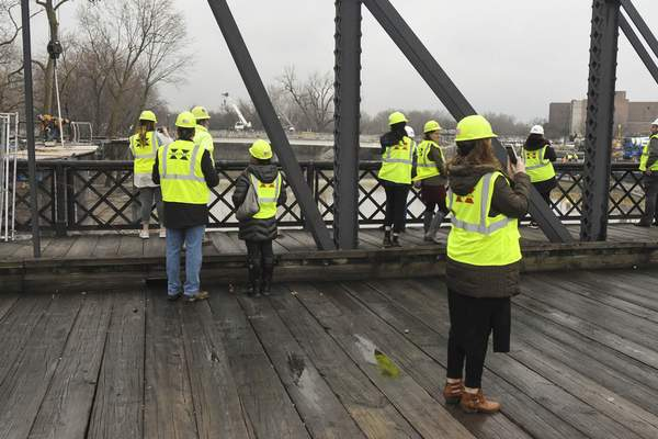 Michelle Davies   The Journal Gazette Visit Fort Wayne hosted a group of travel writers, showing them areas of attraction in downtown Fort Wayne, including the progress on Promenade Park.