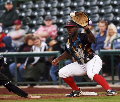 Katie Fyfe | The Journal Gazette  TinCaps' pitcher Angel Acevedo passes the ball to Lee Solomon on first base during the third inning against the Quad Cities River Bandits at Parkview Field on Saturday.