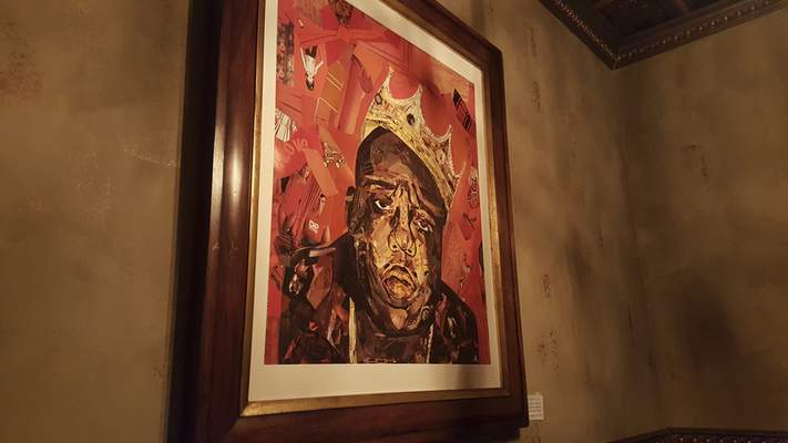 A nifty painting of rapper Biggie Smalls at Copper Spoon in The Harrison.