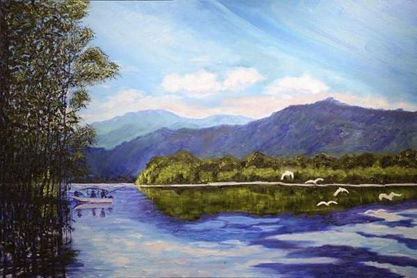 Courtesy Ron Caldwell'soil paintings are at The Orchard Gallery of Fine Art on Covington Road this month.