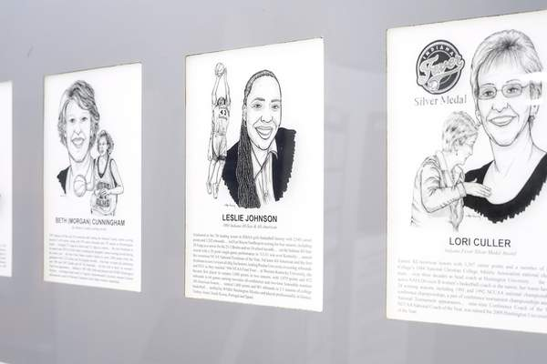 Doug McSchooler | For The Journal Gazette Leslie Johnson's portrait is displayed Thursday at the Indiana High School Basketball Hall of Fame sports museum in New Castle. Johnson is a 1993 graduate of Northrop High School.