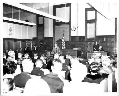 Courtesy photos Fort Wayne City Court was the site of a ceremony for this circa 1950 photo. The court was abolished in 1971, along with the Allen County Justice of the Peace Court.