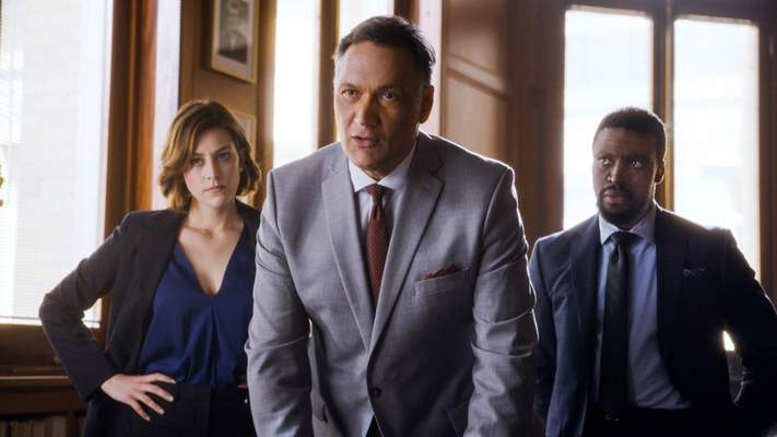 NBC  This image released by NBC shows, from left, Caitlin McGee, Jimmy Smits and Michael Luwoye in a scene from Bluff City Law. Four new NBC dramas are slated for the coming season, with one set for fall. Bluff City Law stars NBC alum Jimmy Smits (The West Wing, ''L.A. Law) as head of a celebrated Memphis, Tennessee, law firm who is joined by his estranged daughter. (NBC via AP)