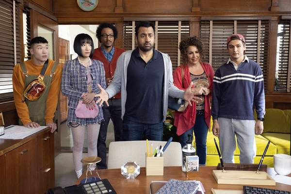 NBC  This image released by NBC shows, from left, Joel Kim Booster, Poppy Liu, Samba Schutte, Kal Penn, Diana Marie Riva and Moses Storm in a scene from Sunnyside. On Thursday night, where NBC sitcoms including Cheers and Friends ruled back in the 1980s and '90s, the network will introduce newcomers Perfect Harmony and Sunnyside to join returning comedies Superstore and The Good Place this fall. (Photo by: Colleen Hayes/NBC)