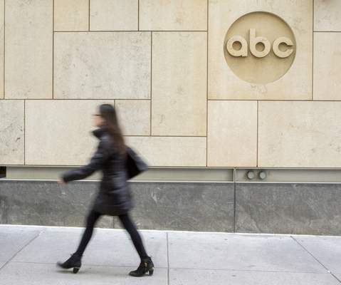 FILE - In this Wednesday, May 10, 2017, file photo, the ABC logo is seen at their television studio on the West Side of Manhattan, in New York. ABC is unveiling its prime-time schedule for fall 2019 on Tuesday, May 14, 2019, and will host a presentation to advertisers with some of its top talent describing their newest shows. (AP Photo/Mary Altaffer, File)