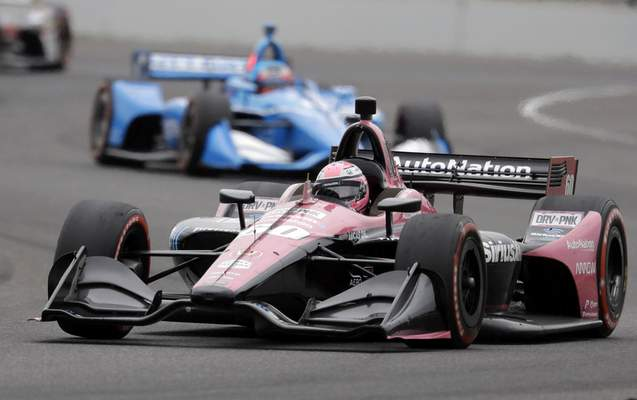 Jack Harvey, of England, steers his car during the Indy GP IndyCar auto race at Indianapolis Motor Speedway, Saturday, May 11, 2019, in Indianapolis. (AP Photo/Darron Cummings)