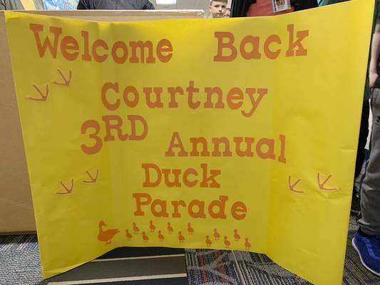 Students at Arcola Elementary held their third annual duck parade Tuesday morning. (Ashley Sloboda | The Journal Gazette)