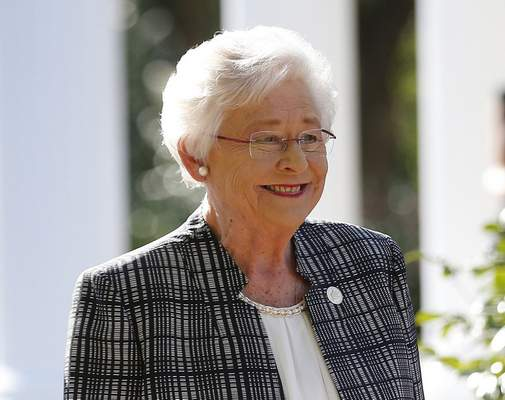 FILE - In this Nov. 17, 2017, file photo, Alabama Gov. Kay Ivey speaks to the media in Montgomery, Ala. Alabama lawmakers have passed a near total ban on abortion. The state Senate on Tuesday, May 14, 2019, passed the bill that would make performing an abortion at any stage of pregnancy a felony. The bill now goes to Ivey, who will decide whether to sign the legislation into law. (AP Photo/Brynn Anderson, File)