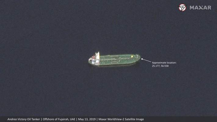 This satellite image provided by Maxar Technologies shows the Norwegian-flagged oil tanker Andrea Victory off the coast of Fujairah, United Arab Emirates, Monday, May 13, 2019. As many as four oil tankers anchored in the Mideast were damaged in what Gulf officials described Monday as a