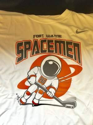 Justin A. Cohn  The Journal Gazette A shirt with a logo of the Fort Wayne Spacemen, a new Junior A team, was on display Monday at SportONE/Parkview Icehouse.