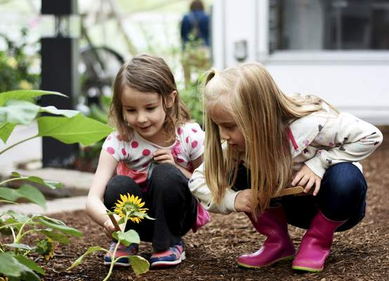 Katie Fyfe | The Journal Gazette Sophie Beluschak, left, and Daisy Edwards, both 5 years old, find a yellow flower to match the colors given to them on their Popsicle sticks during Garden Preschool on Tuesday at Foellinger-Freimann Botanical Conservatory. Garden Preschool is held the third Tuesday of each month.