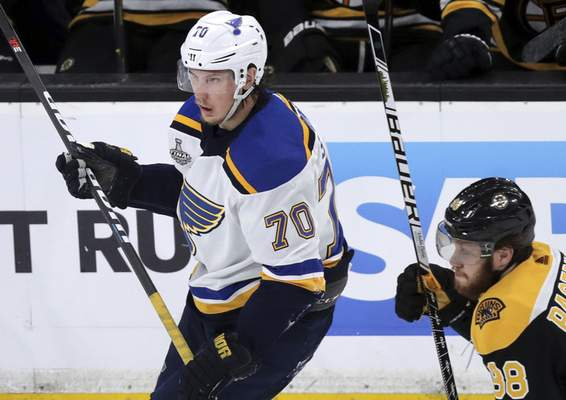 Associated Press The Blues' Oskar Sundqvist won't play tonight when St. Louis hosts Game 3 of the Stanley Cup Final. The NHL suspended Sundqvist one game for boarding Boston's Matt Grzelcyk.
