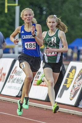 Photos by Chad Williams | Special to The Journal Gazette Carroll's Meagan Hathaway won the 3,200 meters state championship Saturday.