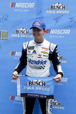 Associated Press William Byron won his second straight pole Saturday. He'll lead the pack today at Pocono Raceway.